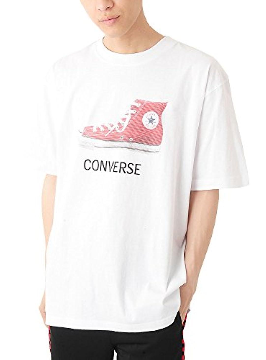 口述証人動的(ベストマート) BestMart 2L~5L展開 CONVERSE 大きいサイズ コンバース ロゴ プリント ビッグ 半袖 シューズ Tシャツ 623984