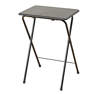 山善(YAMAZEN) テーブル ミニ 折りたたみ式 サイドテーブル 幅50×奥行48×高さ70cm ハイタイプ ウッディブラック YST-5040H(BK/BK)