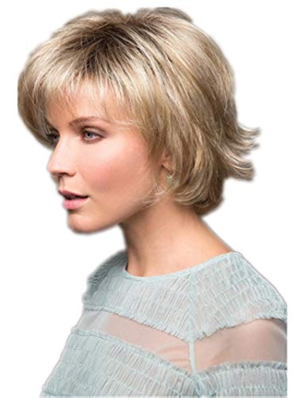 不毛ほかに止まるWASAIO 自然な金髪の短い巻き毛ボブスタイルのかつら25cm (色 : Blonde)