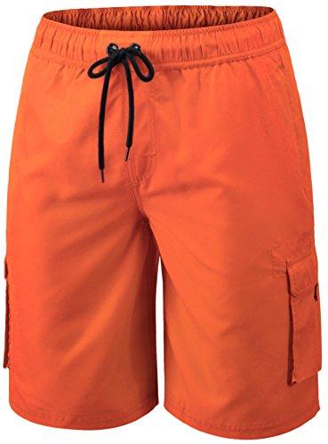 MSB01-ORG-M(テスラ)TESLA メンズ 水着 サーフパンツ 海水パンツ ボードショーツ スイムウエア ミドル丈 [UVカット・吸汗速乾] ラッシュトレンカ マリントレンカ スイムトレンカ サ-フトランクス