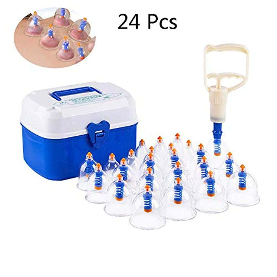 大学院間隔相対的カッピング療法セット、大人と高齢者に適したポンプハンドルと延長チューブを備えたプロフェッショナルカッピング24カップセット