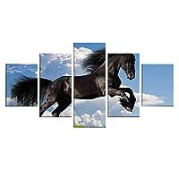 LJFYXZ 壁飾りアートパネル 背景の装飾 不織布にプリント HD映像 動物の馬 5点セット (枠なし) (色 : D, サイズ さいず : 100x200cm)