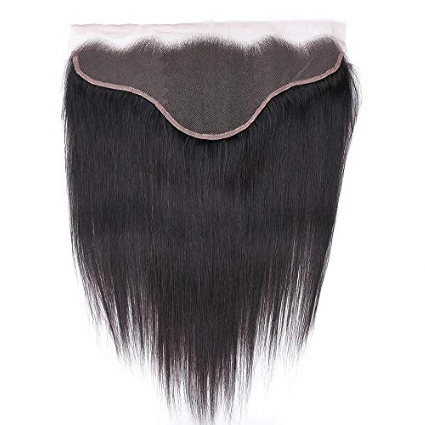 洋服追放する捨てるWASAIO 女性13X6のためのショートバングウィッグロングフィンガー波状のかつらストレートレースフロンタル閉鎖無料パートナチュラルブラックカラー (色 : 黒, サイズ : 18 inch)