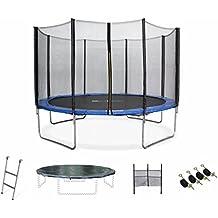 ALICE'S GARDEN - Garden Trampoline - Saturne 12ft Trampoline with Safety Enclosure Netting - Blue - PRO Quality   EU Standards