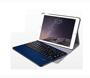 【薄型】iPad air 2 ケース iPad 6 bluetooth レザー キーボード マルチメデイアキー付き/iPad air 2 スマートケース 自動ウェークアップ/スリープ機能付き/IPADAIR アイパッド/プレゼント (ブルー)