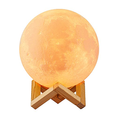 誕生日プレゼント 女性 間接照明 月のランプ Tengis ベッドサイドランプ 無段階調光 2色切替 タッチスイッチ USB充電 3Dプリント オススメ 雰囲気 高級上品 (Ø10cm)