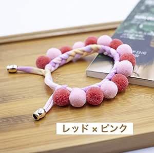 MUSUBI手作りの可愛いボンボン付き 猫用首輪 約22〜27cm (レッド×ピンク)