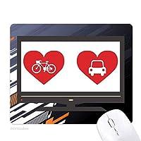 自転車の車は赤いハート柄 ノンスリップラバーマウスパッドはコンピュータゲームのオフィス
