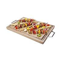 Acacia Wood Serving Board Cutting Board - Platinum Ash with Chrome Handles - 23.5-1ct Box - Restaurantware [並行輸入品]