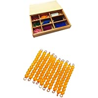 MagiDeal Montessori Bead Bars 1-10 for Kids Toddlers, 1-100 Number Count Learning, Homeschool Mathematic Teaching Material