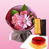 誕生日プレゼント 花 母親 祖母 銀座 千疋屋 マロンプリンA & ピンクの花束