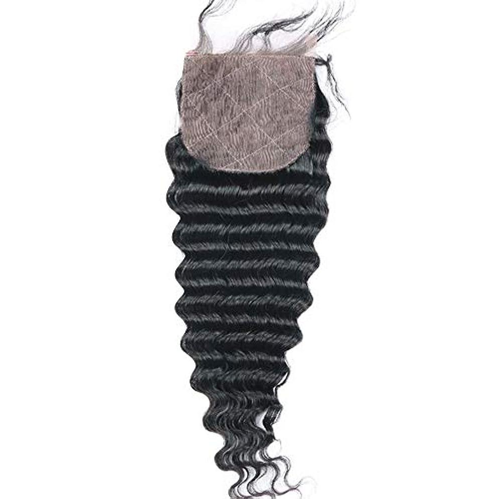 ルアー可聴サミュエルWASAIO ヘアエクステンションブラジルバンドル免除する部分とディープウェーブレースフロンタル閉鎖が100%人織りナチュラルカラー4「×4」 (色 : 黒, サイズ : 16 inch)
