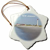 3dローズFlorene America The Beautiful–Cape Mayニュージャージーwith Lighthouse Nビーチ–Ornaments 3 inch Snowflake Porcelain Ornament orn_80580_1