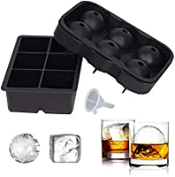 SUNSET Silicone Ice Cube Tray – Set of 2 Large Ice Cube Molds | Square and Sphere Ice Ball Maker for refrigerator | Ice...