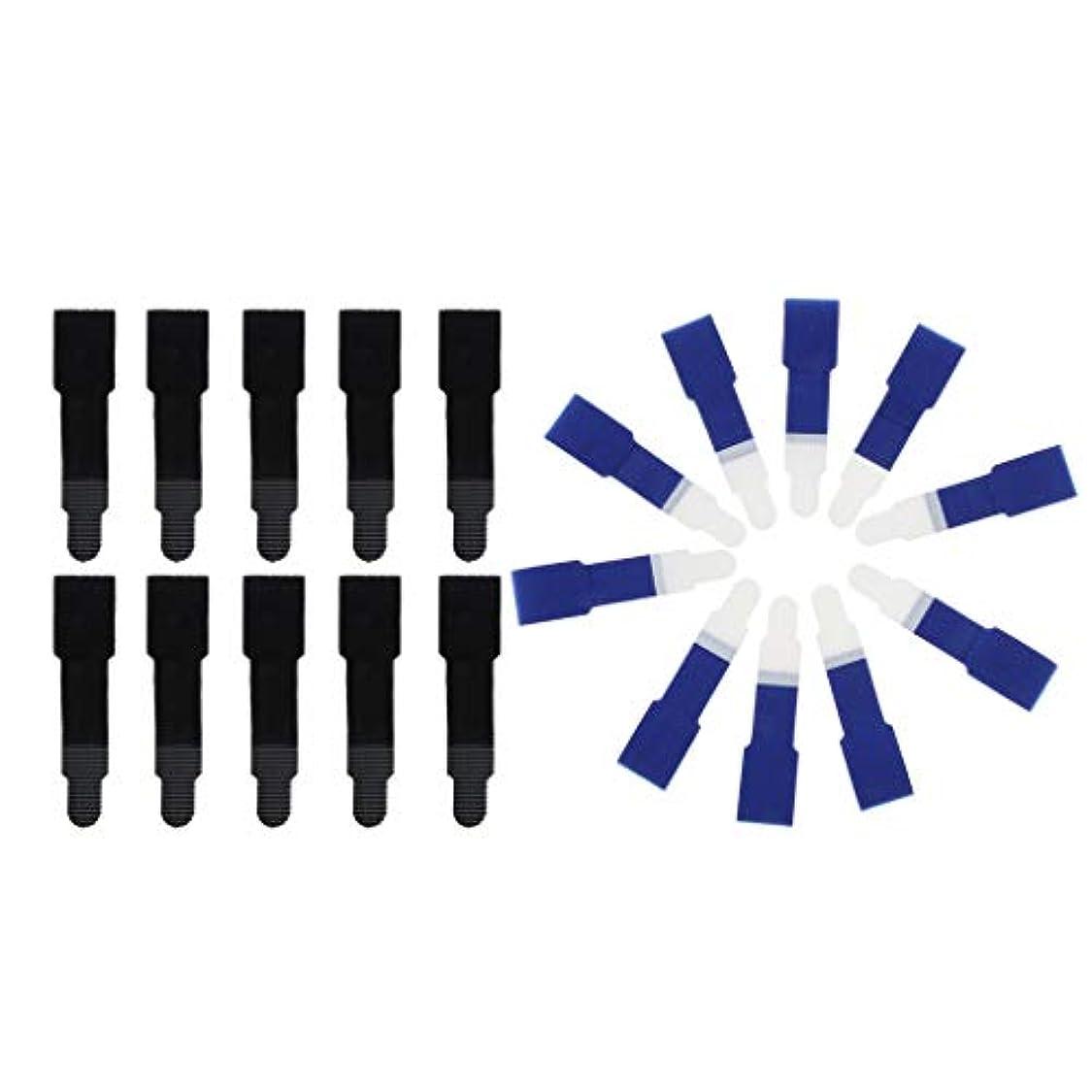 補助金長さ見る人Hellery 足のための20ピース/個つま先ラップ滑り止めつま先ブレースプロテクター包帯矯正 - ブラック+ブルー
