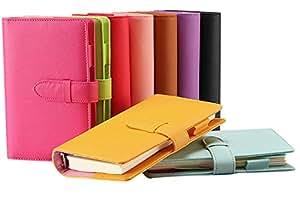 (シーク)SEEKU カラフル 合皮 システム 手帳 A5 A6 リフィル ペン カード 入れ 学生 ビジネス レザー (ブラック A5)