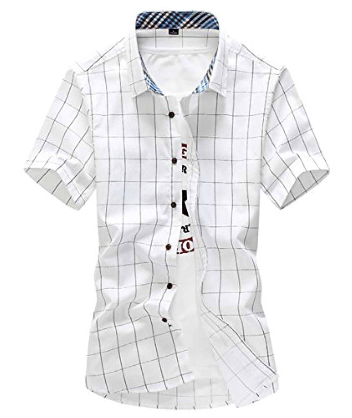 仕事に行く歴史免疫[スゴフィ]SGFY  メンズ ポロシャツ チェック柄 カジュアル シャツ ゴルフ ウェア (5XL, ホワイト)
