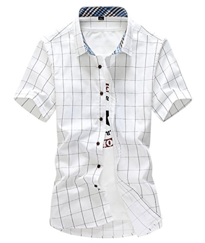 [スゴフィ]SGFY  メンズ ポロシャツ チェック柄 カジュアル シャツ ゴルフ ウェア (L, ホワイト)