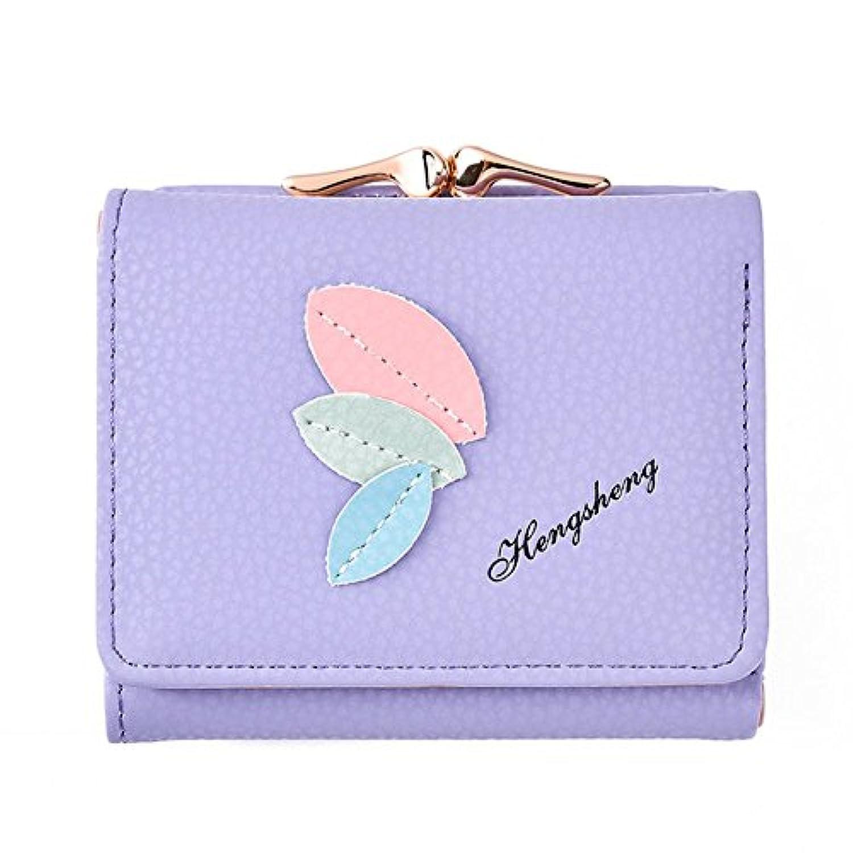 ORIS 三つ折り財布の女性の多機能葉小さな財布のパーソナライズモデルのボタン甘いキャンディーの色の短い段落のカードのパッケージ (パープル) [並行輸入品]