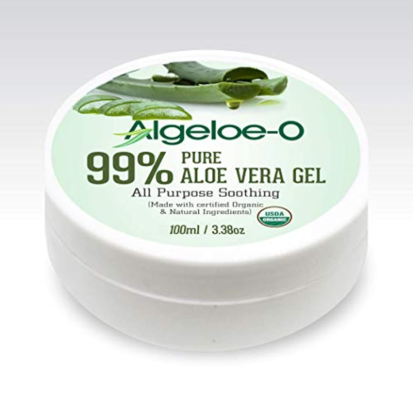 新年つぶす照らすAlgeloe-O  Organic Aloe Vera Gel 99% Pure Natural made with USDA Certified Aloe Vera Powder Paraben, sulfate free...