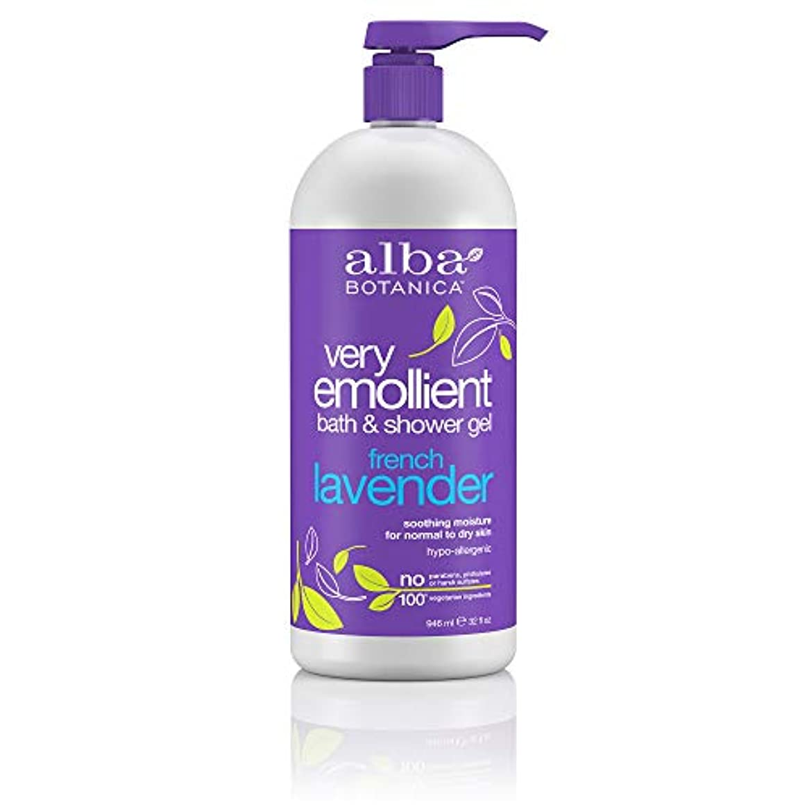 橋脚システム猟犬Alba Botanica, Very Emollient, Bath & Shower Gel, French Lavender, 32 fl oz (950 ml)