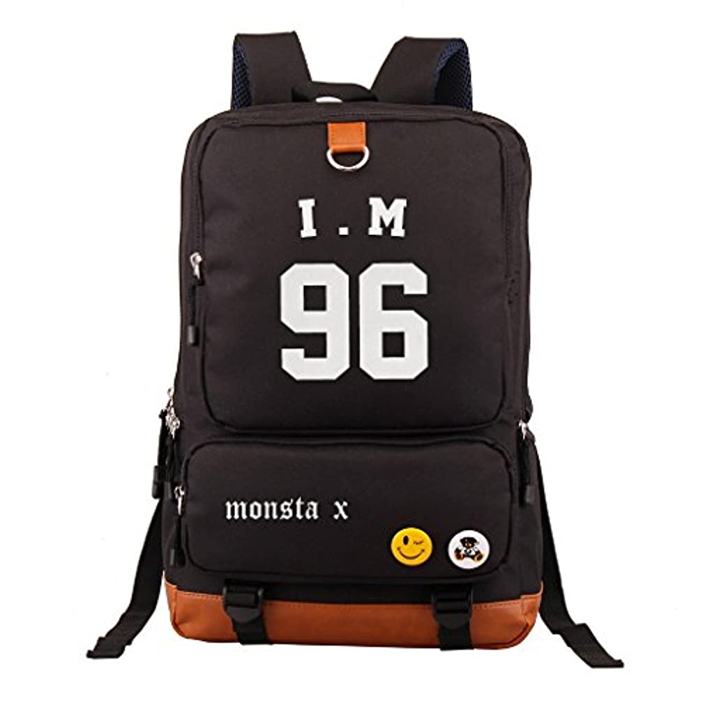 寄付フェロー諸島内部Fanstown KPOP 韓流 MONSTA X ロゴをマークしたリュックサック リュック バックパック - ペンケース組み合わせ製品