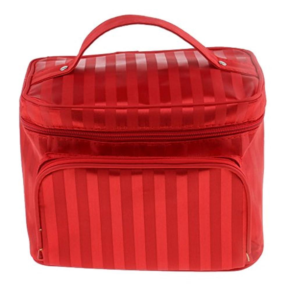 不健全スピーカー適格Perfk メイクアップバッグ 化粧品バッグ 化粧品 コスメ メイクアップ 収納 防水 耐摩耗 旅行用 バッグ メイクボックス 化粧ポーチ 5色選べる - 赤