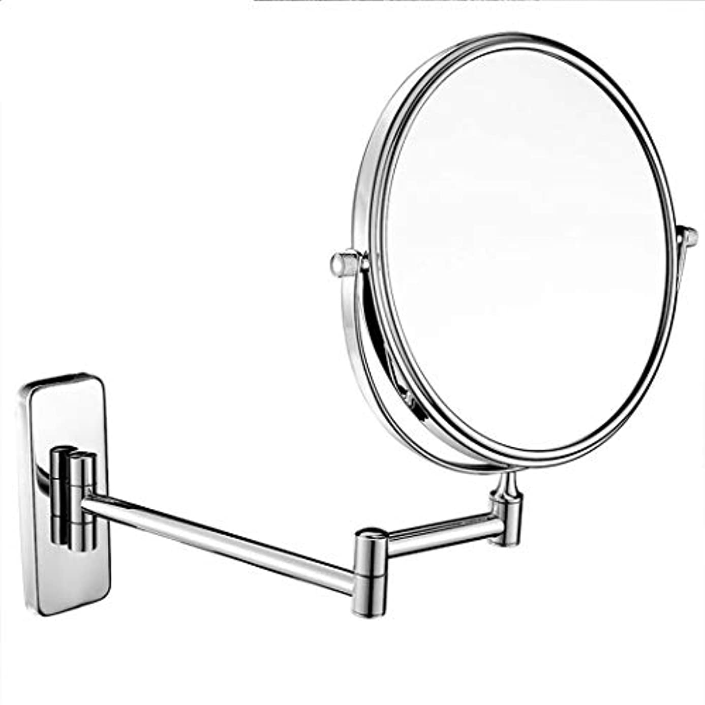 壁に取り付けられた浴室用ミラー両面化粧鏡3倍/ 5倍/ 7倍/ 10倍拡大虚栄心拡大鏡360°回転、バス、スパ、ホテル用に拡張可能 (色 : クロム, サイズ さいず : 7x-6 inch)