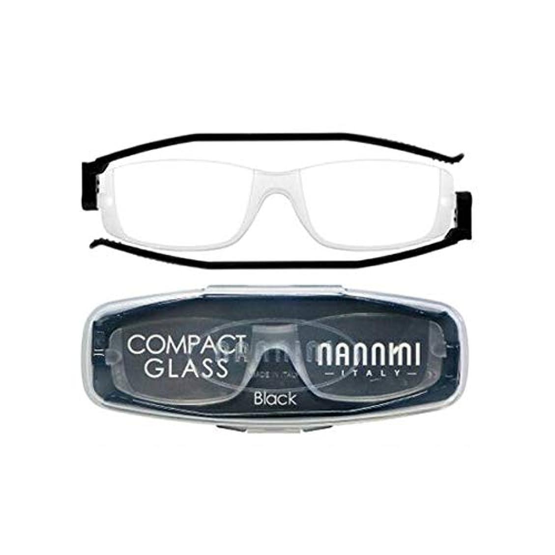 老眼鏡 コンパクトグラス2 nannini リーディンググラス 男性用 女性用 メンズ レディース シニアグラス 全12色(+2.50,ブラック)