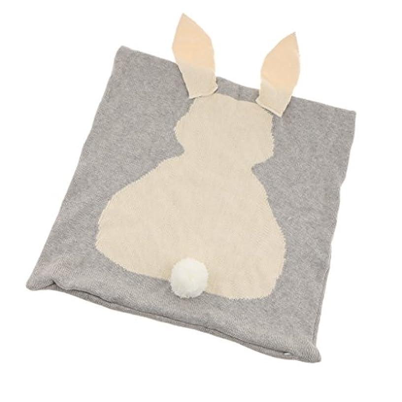 報復計算可能方言コットンニットかわいいウサギ枕カバートロー枕ケース車のソファクッションカバー家の装飾(45 Cm X 45 Cm) - グレー