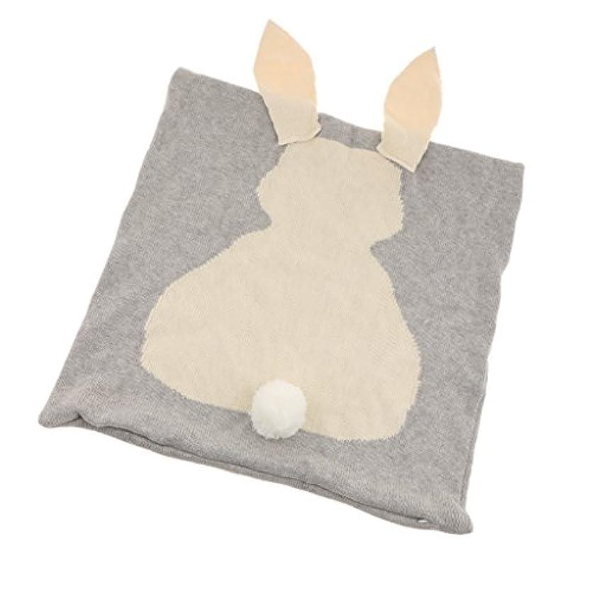 適用済み不規則な減らすコットンニットかわいいウサギ枕カバートロー枕ケース車のソファクッションカバー家の装飾(45 Cm X 45 Cm) - グレー