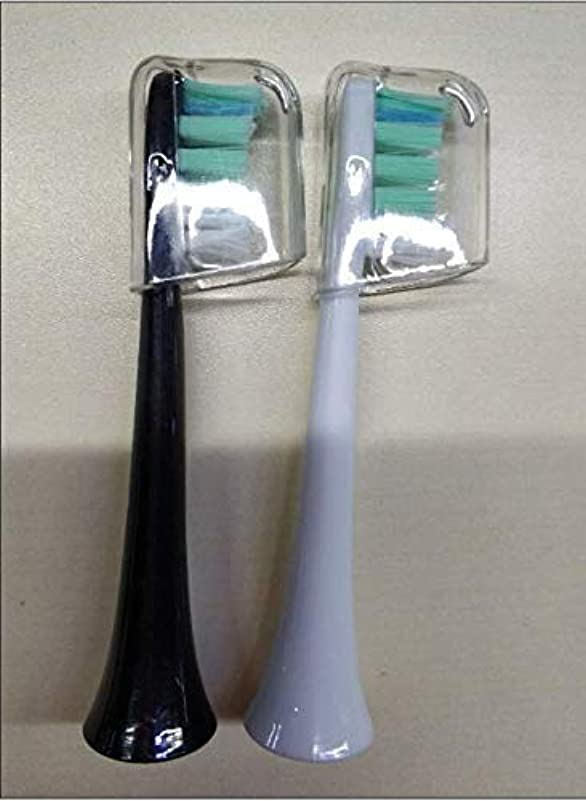 解き明かす甲虫コインAtmoko 口腔洗浄器 電動歯ブラシ 組み合わせセット専門替えブラシ ブラック+ホワイト2本入り(7月20日以後の商品と対応)