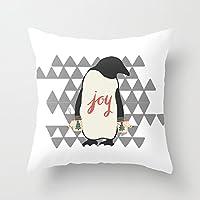 クリスマスペンギン クッションカバー 抱き枕カバー 幾何図形45×45cm 綿100% おしゃれ ホーム装飾デザイン