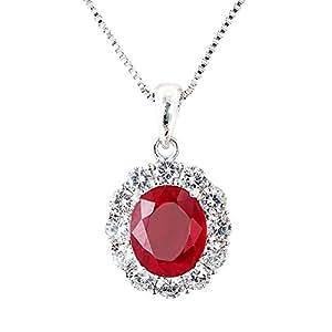 One&Only Jewellery 【鑑別書付】 一生物 超大粒 5ct 天然 ルビー ネックレス ペンダント SV925 K18GP 宝石の女王 7月誕生石 (ホワイト)