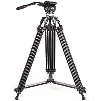 ASHANKS ビデオ三脚 油圧ダンピング ボール雲台 3段階伸縮可能 3way雲台 角度調節 カメラ 三脚 プロ仕様 アルミ製軽量 頑丈 デジカメ/一眼レフ/ビデオ対応、 ビデオカメラ 耐荷重5Kg
