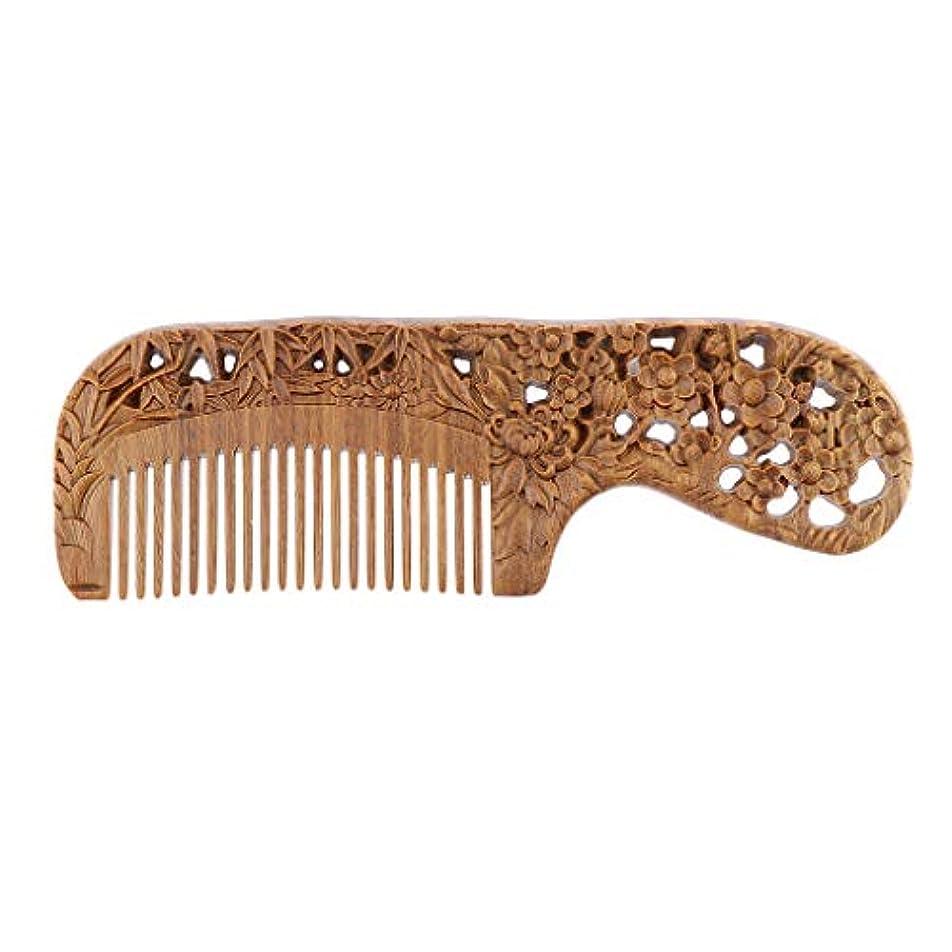 心配うなり声シロクマB Blesiya 手作り 木製櫛 ヘアブラシ ヘアコーム 頭皮マッサージ レトロ 4タイプ選べ   - 17.8 x 5.6 x 11.5 cm