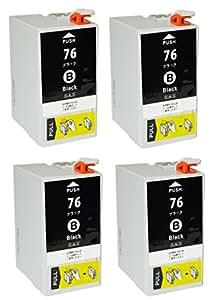 ZAZ ICBK76 ブラック 4個セット EPSON 互換インク ( IC4CL76 のブラック4個 大容量 ) ICチップ付き 大容量タイプ EPSON 互換インク 残量表示可能 高品質 個別包装 [ZAZ] FFPパッケージ(76B-4)