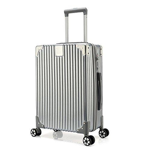 クロース(Kroeus) スーツケース ファスナータイプ 4輪ダブルキャスター 静音 大型 大容量 軽量 ソフト キャリーケース 旅行 出張 TSAロック搭載 耐衝撃 ヘアライン仕上げ L シルバー