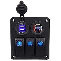 車のrv修正アクセサリー車のusb携帯電話充電器電圧計ロッカースイッチledライト12-24ボルト (Size : CS-522A1)