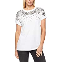 French Connection Women's Animal Sequin TEE, White/Gold/Black