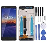 GuosB Full Screen Replacement LCD Screen and Digitizer Full Assembly with Frame & Side Keys for Nokia 3.1 TA-1049 TA-1057 TA-1063 TA-1070 (Black) (Color : Black)