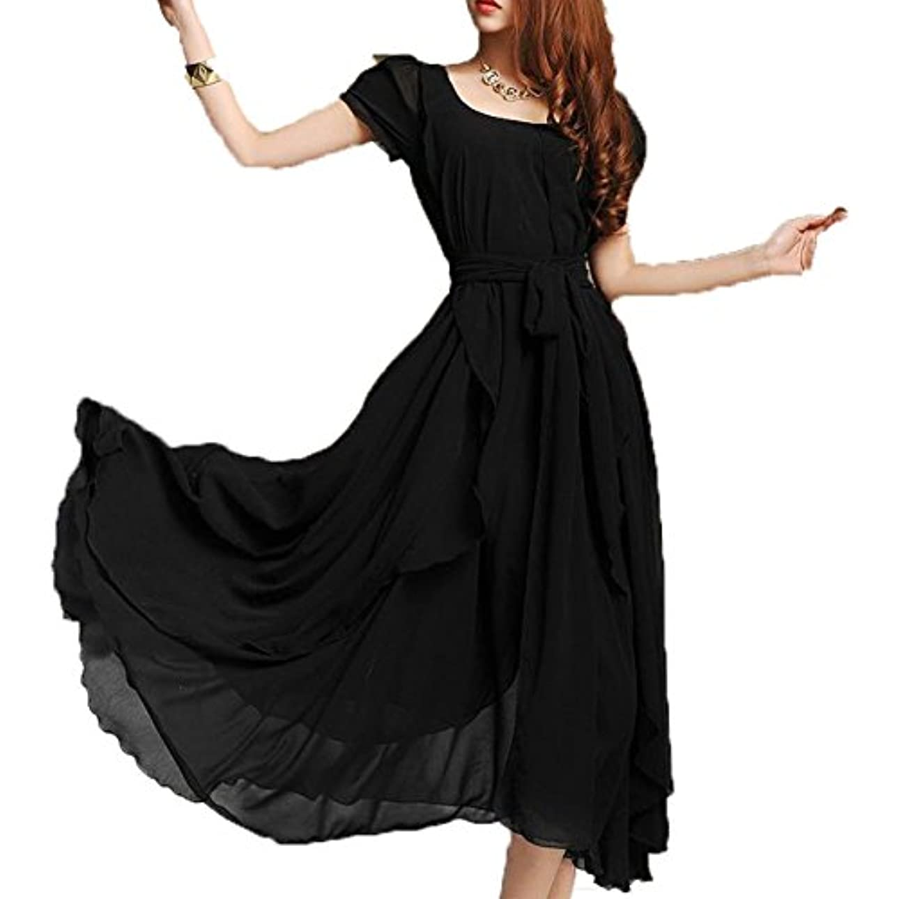 アルミニウム裏切る半導体[ココチエ] フォーマル ワンピース ドレス ロング ふんわり シフォン ベルト 半袖 袖あり ブラック レッド グリーン