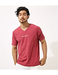 (アズールバイマウジー) AZUL by moussy Tシャツ WISH刺繍 スラブ 天竺 Vネック 半袖T メンズ