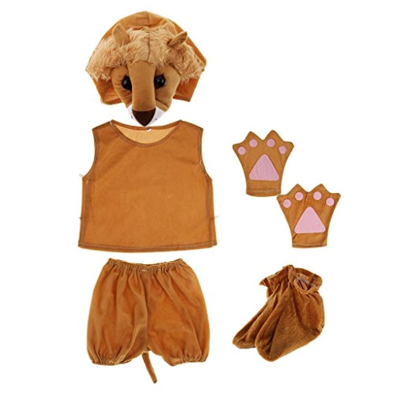ブレンド哀れな王子sharprepublic キッズ 子供 衣装キット 動物のコスチューム 帽子 シャツ 手袋 靴 舞台劇 コスプレ 全20種類 - ライオン