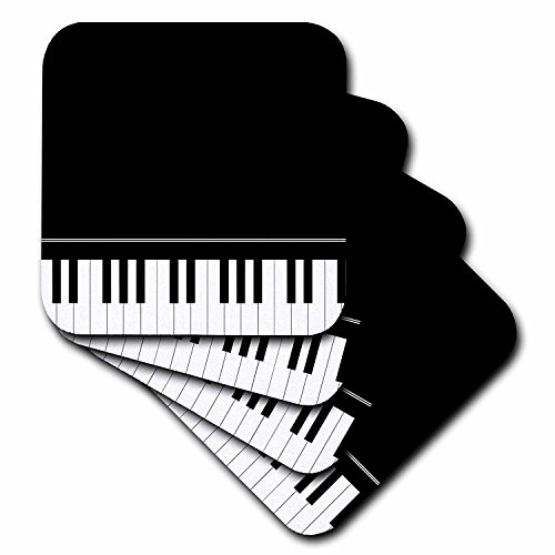3dRose cst_112947_1 Black Piano Edge-Baby Grand Keyboard Music Design for Pianist Musical Player and Musician Gifts-Soft Coasters, Set of 4 [並行輸入品]
