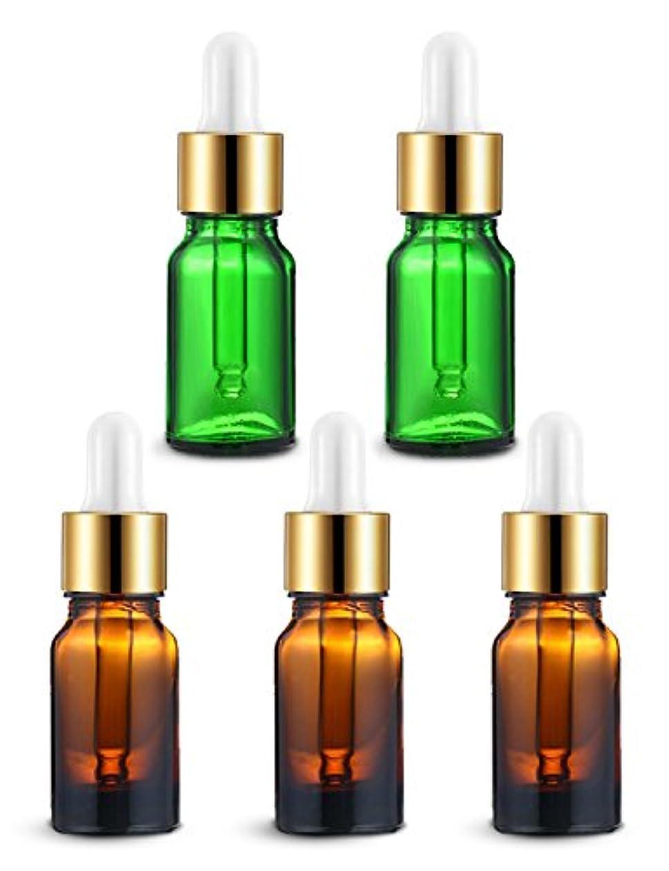 ひばり寓話代替案ENERG アロマディフューザー(全機種適応) ネブライザー式 スポイト付き精油瓶 緑2個?ブラウン3個 アロマ瓶 10ml 5個セット