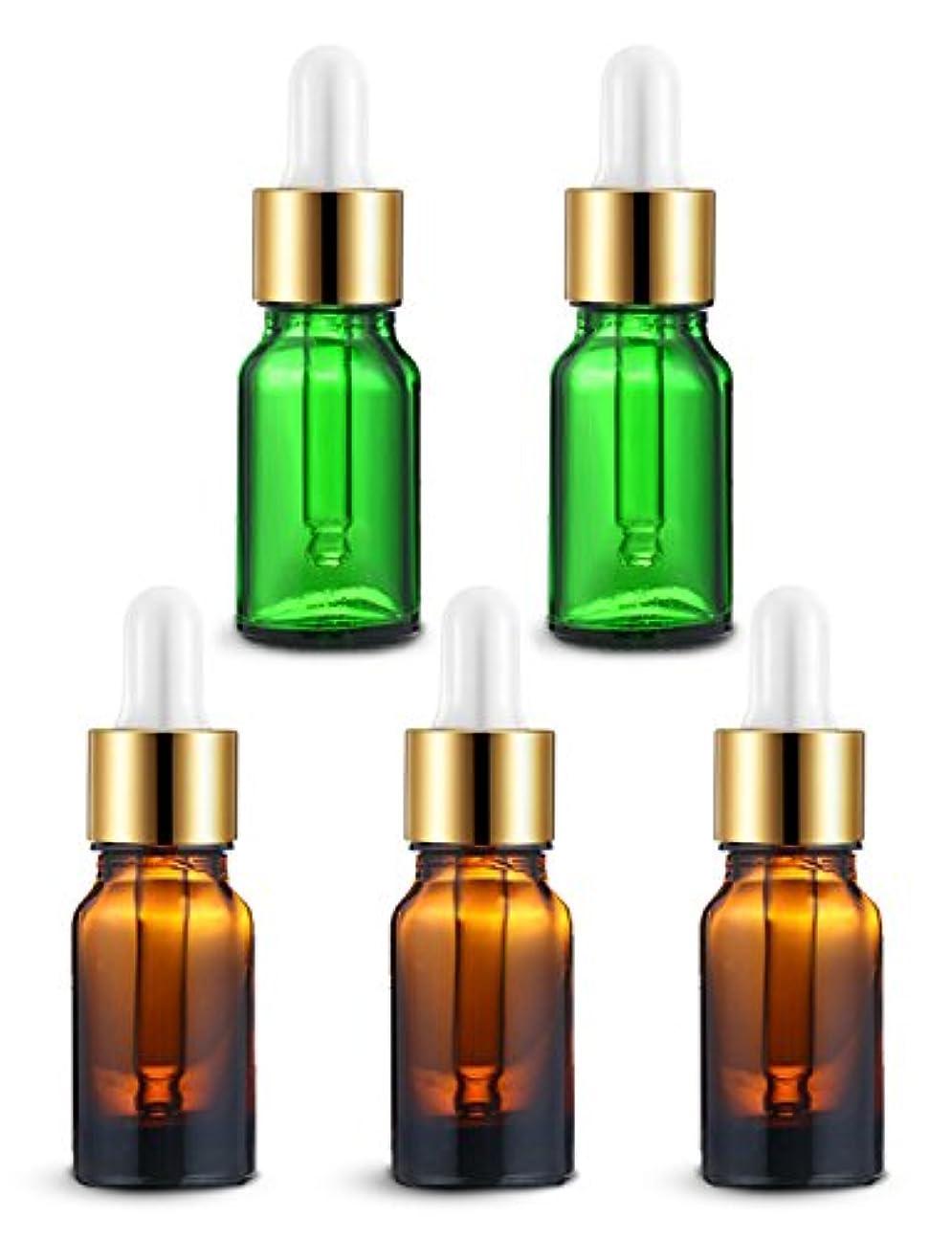 ENERG アロマディフューザー(全機種適応) ネブライザー式 スポイト付き精油瓶 緑2個?ブラウン3個 アロマ瓶 10ml 5個セット