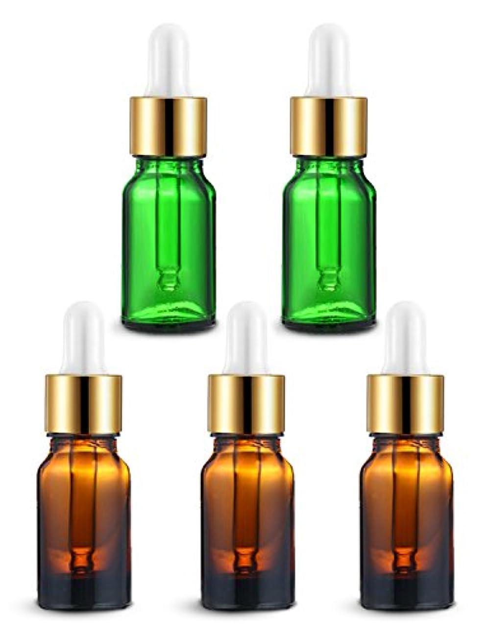 負ダブル巻き取りENERG アロマディフューザー(全機種適応) ネブライザー式 スポイト付き精油瓶 緑2個?ブラウン3個 アロマ瓶 10ml 5個セット