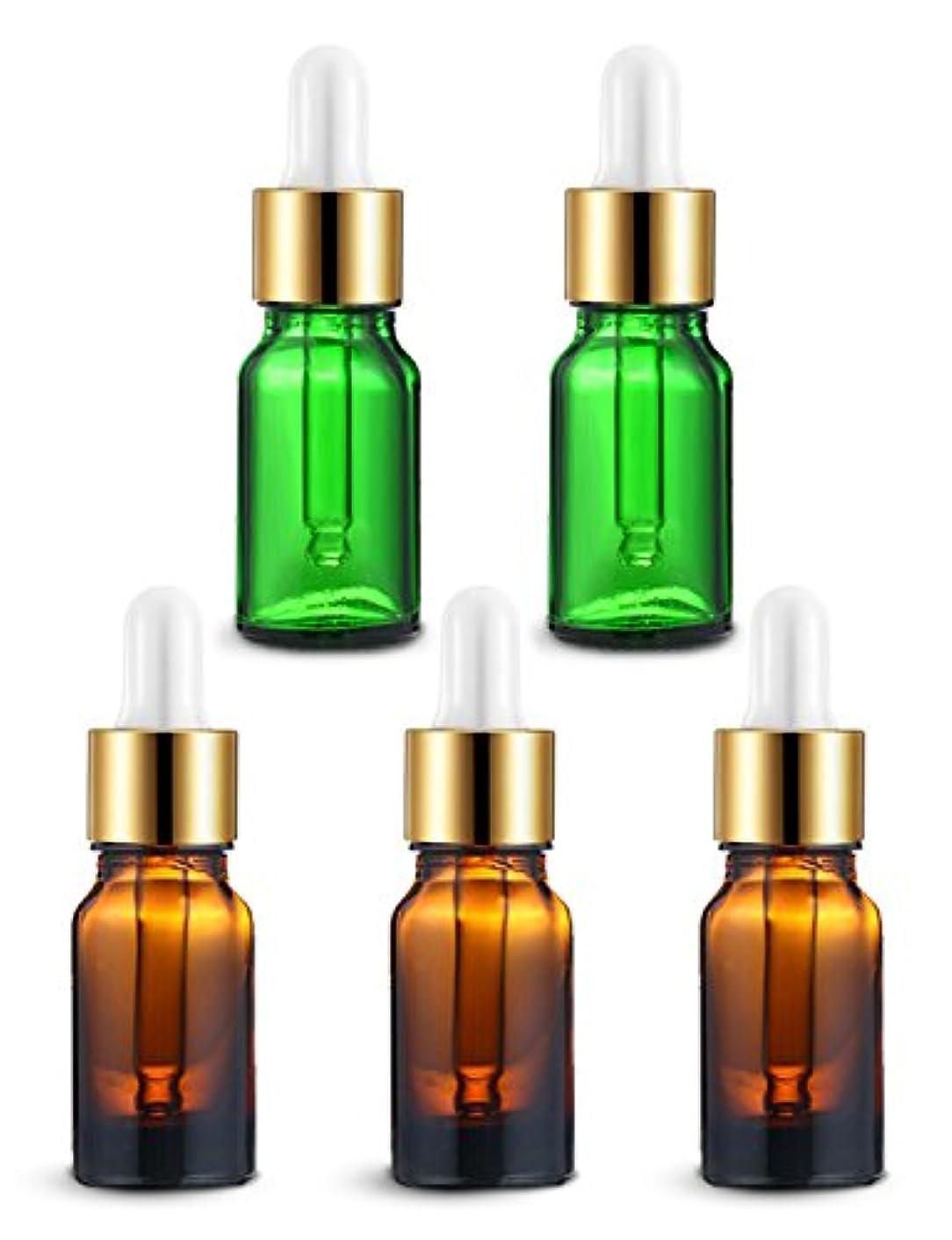 障害肝競うENERG アロマディフューザー(全機種適応) ネブライザー式 スポイト付き精油瓶 緑2個?ブラウン3個 アロマ瓶 10ml 5個セット