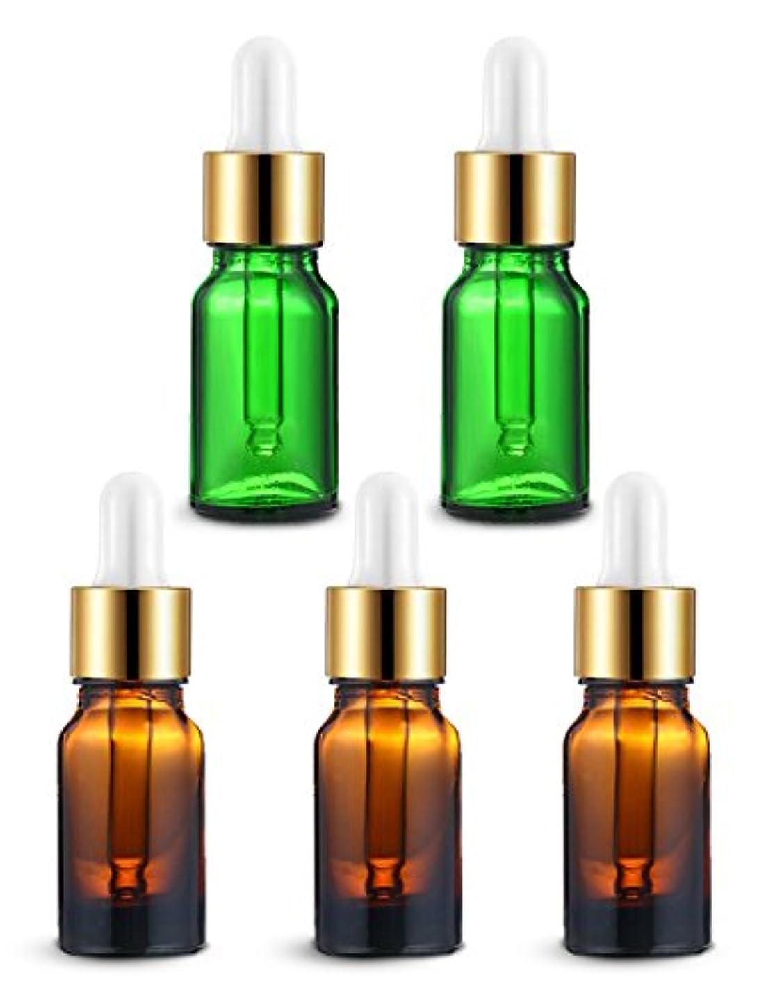弱めるゲーム倒錯ENERG アロマディフューザー(全機種適応) ネブライザー式 スポイト付き精油瓶 緑2個?ブラウン3個 アロマ瓶 10ml 5個セット